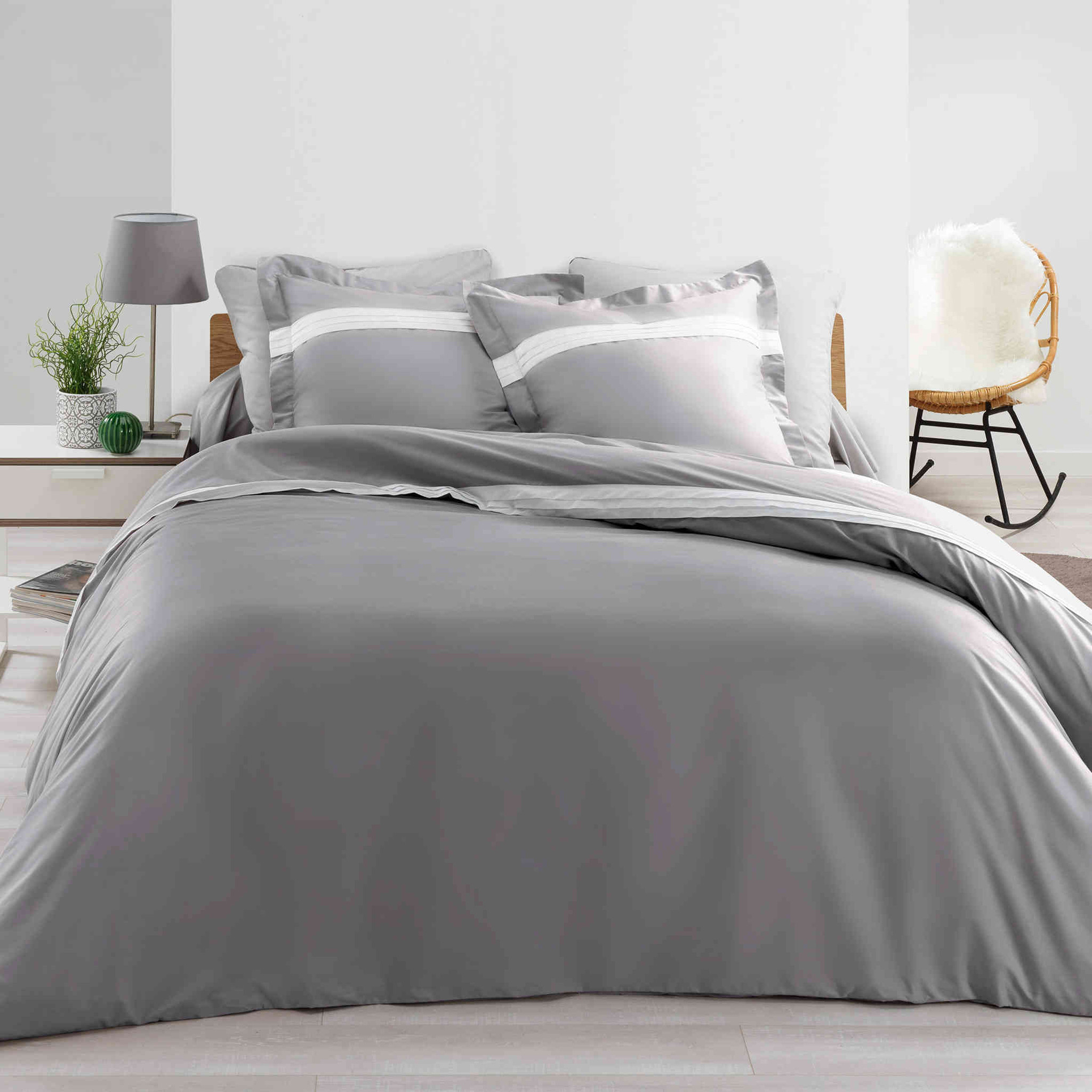 Parure de lit percale Astoria anthracite