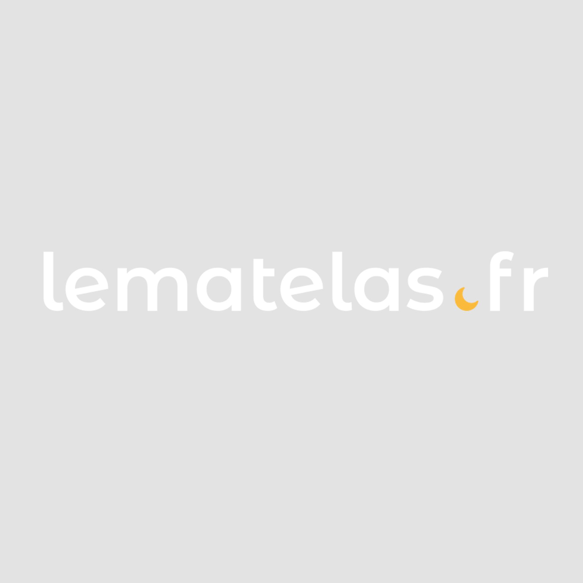 Lit en métal blanc et chêne 140x190 - LT4005 - Hôtellerie