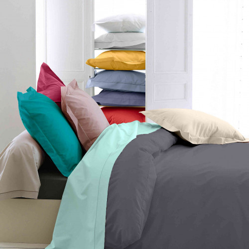 Housse de couette percale anthracite - Tradilinge