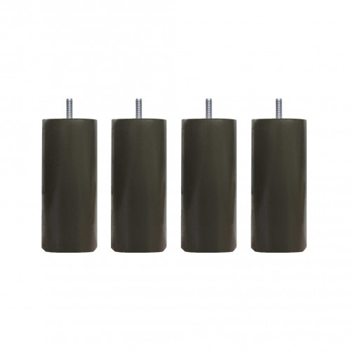4 pieds cylindriques bois taupe 15 cm
