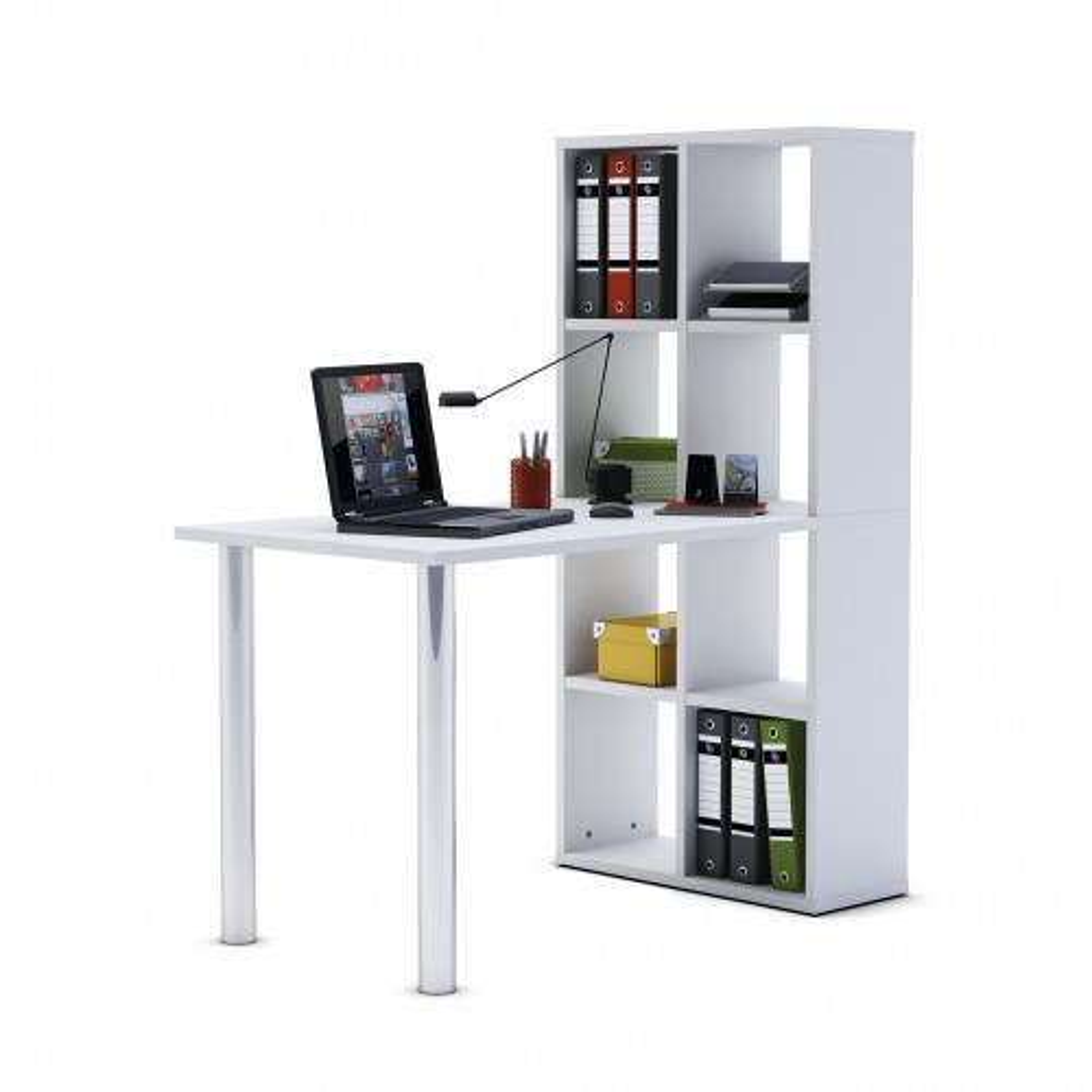 Bureau bibliothèque 8 niches blanc en MDF