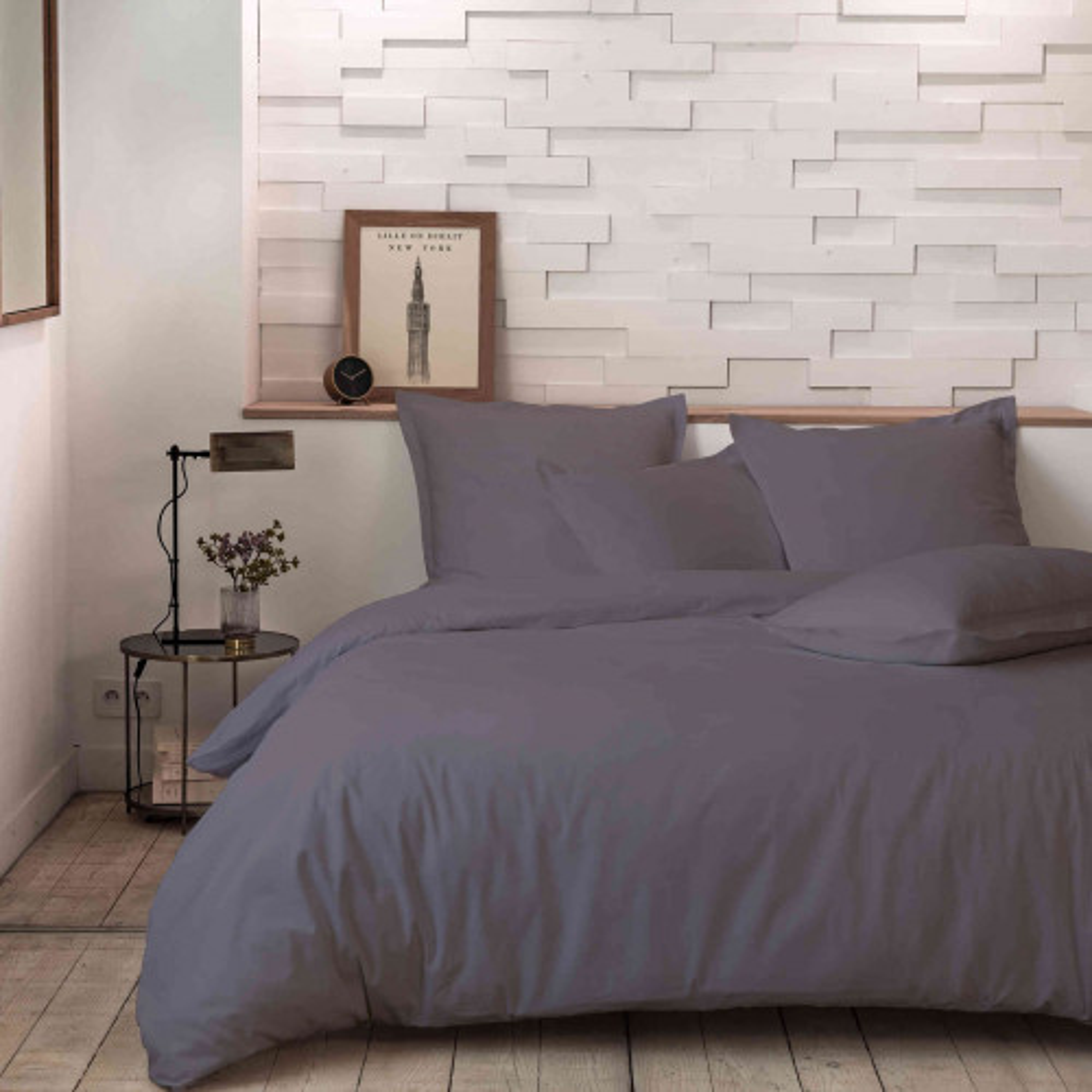 Parure de lit percale unie gris 260x240 cm - Hôtellerie