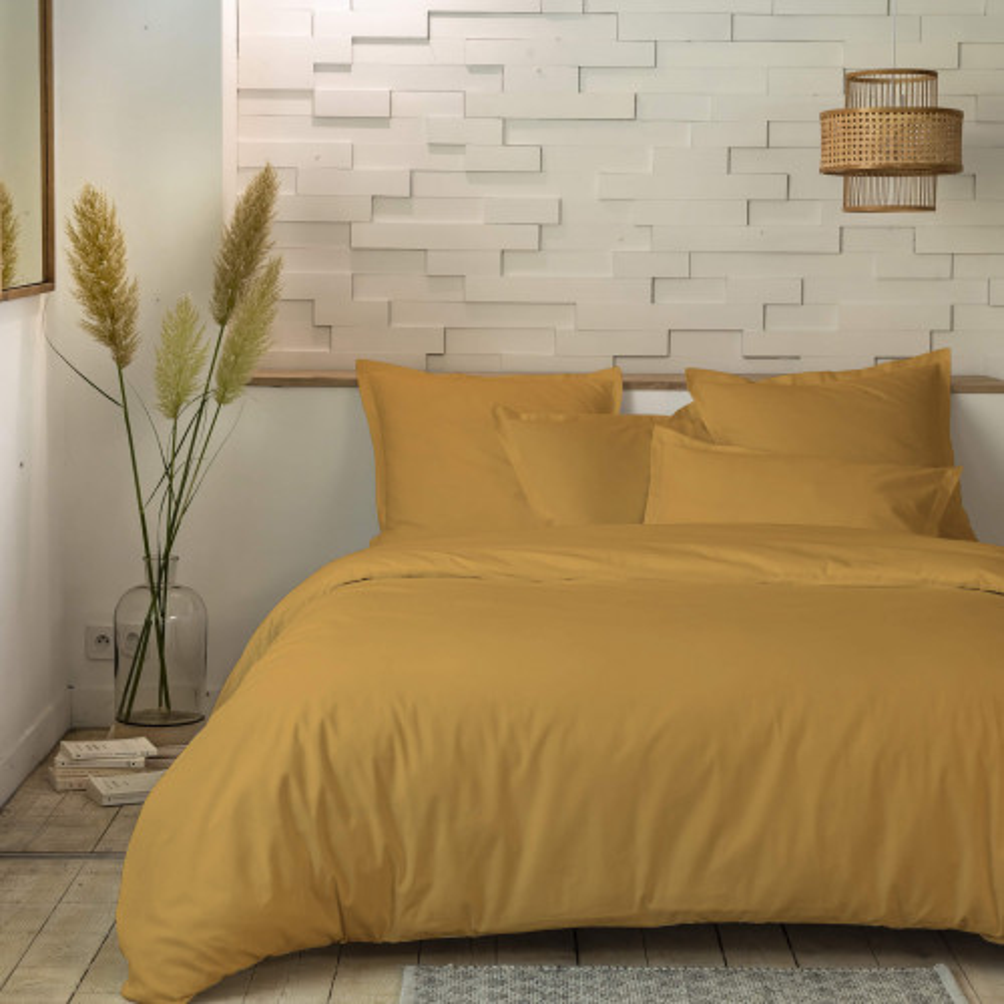 Parure de lit percale unie moutarde 260x240 - Hôtellerie cm